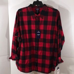 Chaps red/black checked shirt NWT